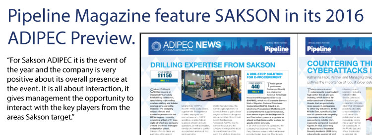 Sakson feature in Pipeline Magazine